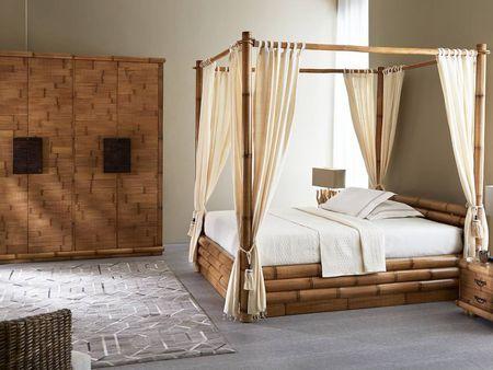Lit Flora Bambou Meuble Bois Massif Mobilier De Salon Lit Bambou
