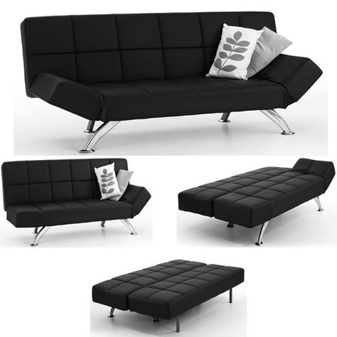 Venice Sofa Bed Faux Leather In Black With Chrome Legs ...