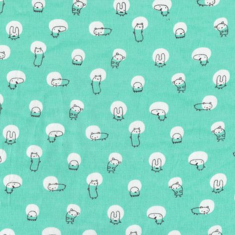 Kawaii Monster Fabric in Mint Green Monsterz by NekomataTextiles