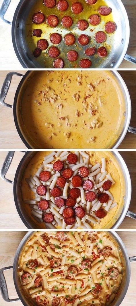 Creamy Mozzarella Pasta with Smoked Sausage – Italian style pasta dinner that looks good and tastes great! Short penne pasta with thinly sliced smoked sausage are smothered in a delicious creamy sauce made with garlic, sun-dried tomatoes, red pepper flakes, half and half, and Mozzarella cheese.