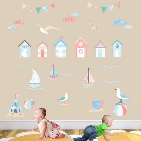 beach huts - beside the seaside deluxe nursery wall art stickers