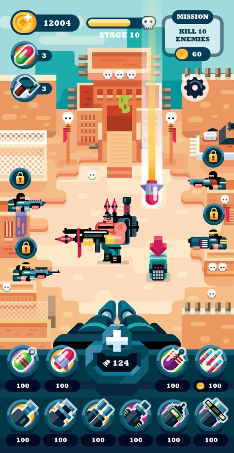Game Design in Flat Art Illustration Style
