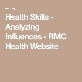 Health Skills Analyzing Influences Rmc Health Website Education Skills Health Education High School Health