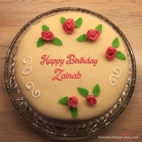 Elegant Happy Birthday Cake For Friend With Name Zainab Happy