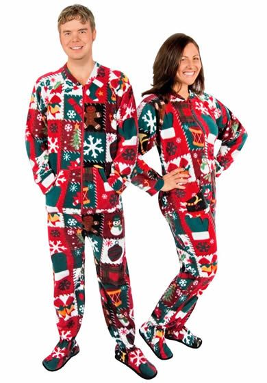 Ugly Christmas Sweater Footed Pajamas for Adults Fleece with Drop ...