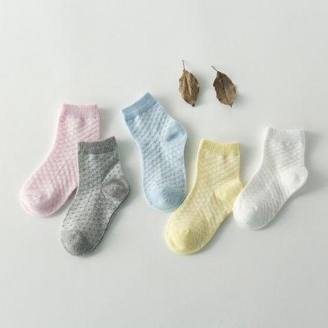 5 Pair Baby Sock Kids Girl Boy Toddler Cable Knit Knee High Cotton Socks UK