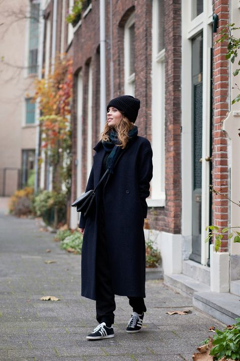 (COS coat and beanie hat, Boden cashmere sweater, H&M Trend trousers, Adidas 'Gazelle' sneakers.