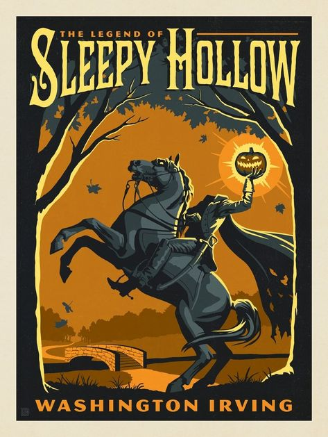 Anderson Design Group – Literary Classics – The Legend of Sleepy Hollow: Washington Irving Halloween Poster, Halloween Prints, Halloween Signs, Halloween Pictures, Halloween Horror, Spooky Halloween, Holidays Halloween, Vintage Halloween, Sleepy Hollow Book