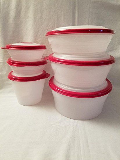 Tupperware 6 Pc Stuffable Storage Containers Red Seals Lids 1 2 3 4 6 8 Cups Review Storage Containers Tupperware Container