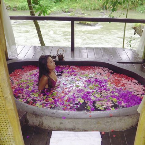 This flower bath spa is a relaxing way to connect with nature in Bali.