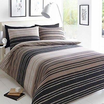 Textured Bold Stripe Brown Black Duvet Cover Quilt Bedding Set Pillowcases Ebay Quilt Sets Bedding Duvet Sets Brown Duvet Covers