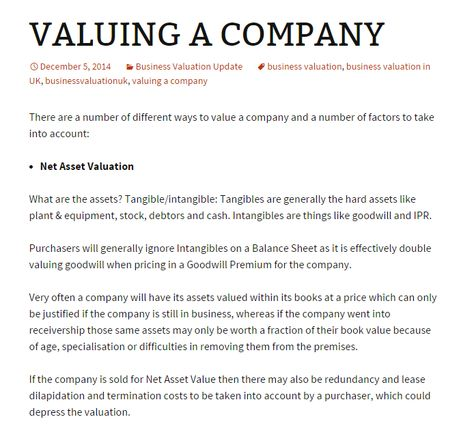 Business Valuation Business and Company Valuation Pinterest - business valuation report