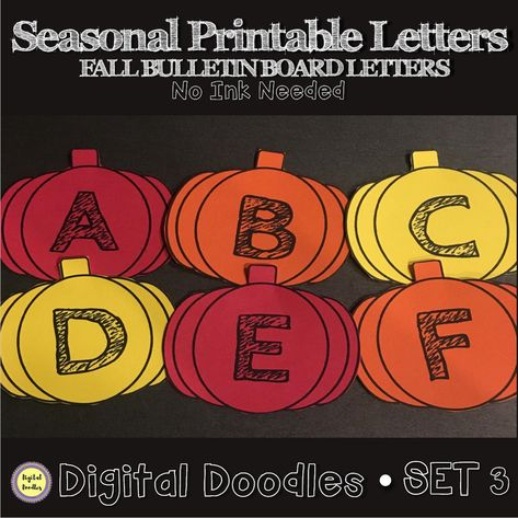 Printable Pumpkin Letters NO INK NEEDED Just Download And Print On Colored Paper