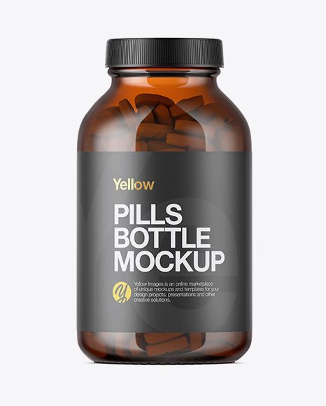Amber Glass Bottle With Pills Mockup In Bottle Mockups On Yellow Images Object Mockups Mockup Free Psd Amber Glass Bottles Free Packaging Mockup
