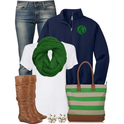 """""""Green & Navy"""" - Blue Jeans, White Tee, Navy Pullover, Green Scarf, Tall Brown Boots = A great outfit for fall or winter Want some boots!!"""