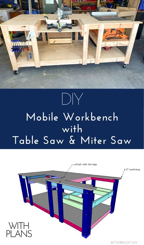 Garage Workbench Plans, Table Saw Workbench, Building A Workbench, Mobile Workbench, Workbench Designs, Woodworking Bench Plans, Woodworking Workbench, Woodworking Projects Diy, Workbench Ideas