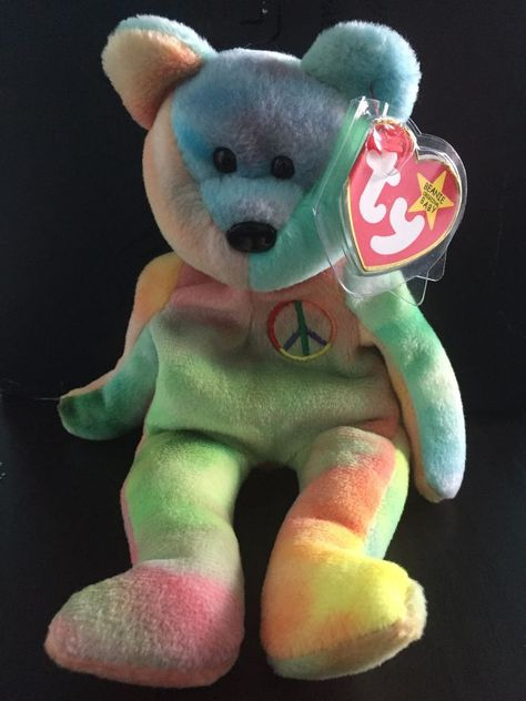 b42e7260460 Item a new TY Beanie Babies - Peace bear. Item features several errors    x2f  rarities including.