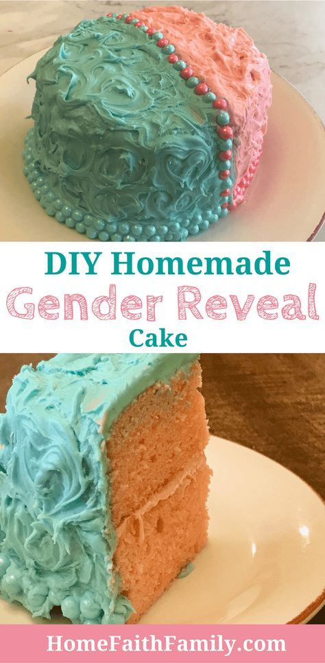 Diy Homemade Gender Reveal Cake Gender Reveal Cake Diy Gender