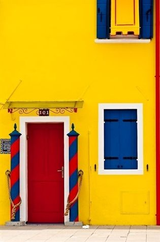 Red, Yellow, Blue - Primary Colors - Burano in Yellow, Venice, Italy