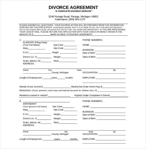 Divorce Petition TemplateSeparation Agreement  Separation