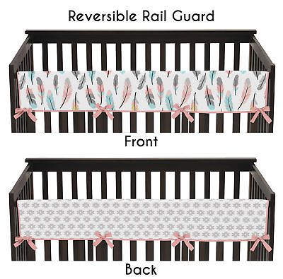Bed Rails 162183 Sweet Jojo Coral Feather Front Rail Guard Crib Cover Baby Teething Protector