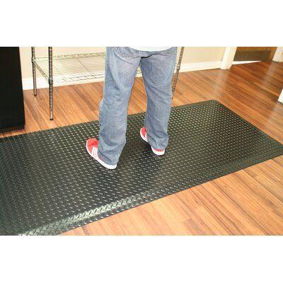 Symple Stuff Diamond Plate Anti Fatigue Garage Flooring Roll In Black Mat Size Square 2 In 2020 Flooring Plates Black