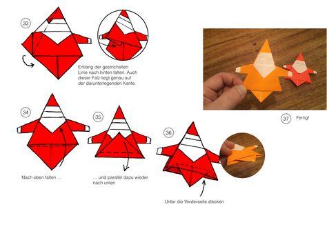 ORIGAMI WEIHNACHTSMANN So kurz vor Weihnachten kommt hier noch mal eine echte Herausforderung für alle Falt-Fans: eine Origami-Anleitung für einen süßen kleinen Weihnachtsmann aus Papier. Wir wünschen Euch frohes Falten!