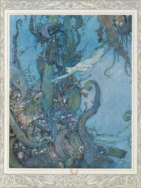 La petite Sirène va trouver la Sorcière des mers    Illustration by Edmund Dulac for Little Mermaid by Hans Christian Andersen