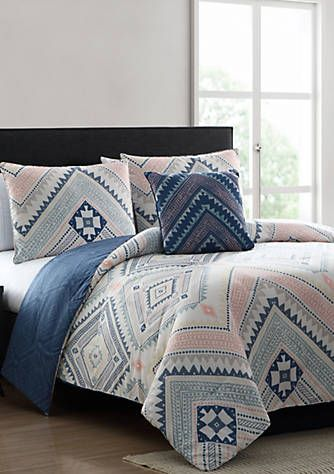 Sarah Blue And Pink Tribal Print Reversible Comforter Set With