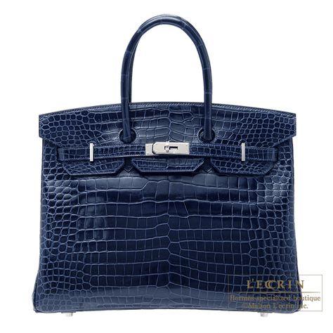8409706b0ce Hermes Birkin 35 Blue Jean Porosus Crocodile Palladium Hardware ...