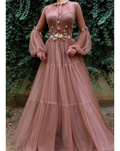 Lushy Spirit TMD Gown- Lushy Spirit TMD Gown Details – Sandstone color – Tulle fabric – Handmade embroidered flowers and crystals – Ball-gown style – Party and Evening dress -
