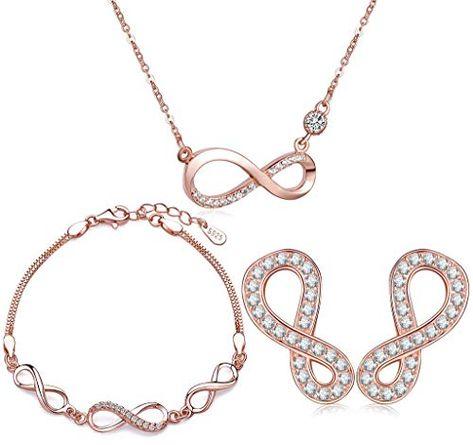 Signore-Signori Cristales de circonia c/úbica 18K Chapado en Oro Rose Collar y Pendientes Cristal