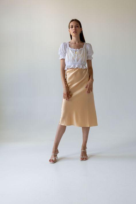 Silk slip skirt midi Champagne silk satin skirt Silk slip bias   Etsy