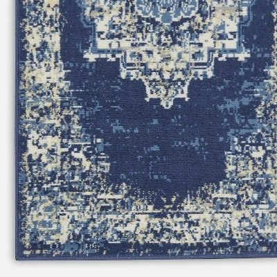 Nourison Grafix Grf14 Navy White Tan Indoor Area Rug 2 3 X10 Area Rugs Blue Area Rugs Rugs