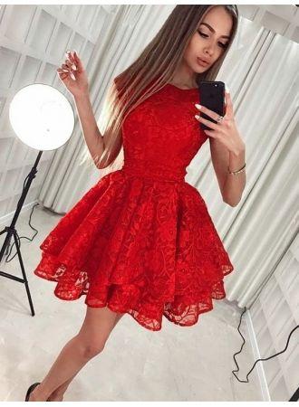 Fashion Rote Abendkleider Kurze Spitze Cocktailkleider Gunstig Online Homecoming Kleider Rotes Kleid Kurz Cocktailkleid