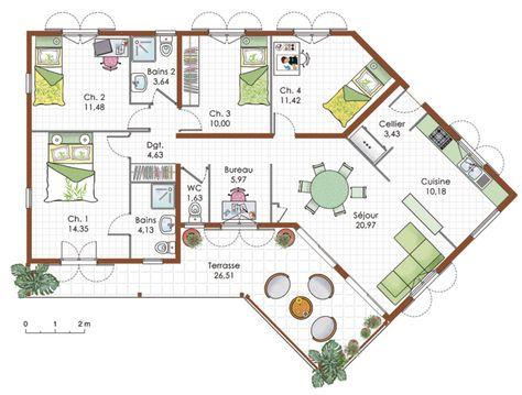 15 best plan maison images on pinterest floor plans future house and my house - Plan Maison 90m2 Plain Pied