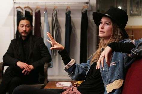 THVM co-founder Brian Kim and model/muse Behati Prinsloo discuss their collaboration at the THVM headquarters in downtown L.A.