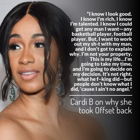 Cardi B Is Tired Of People Judging Her For Taking Her Fiance Offset Back After Cheating Allegations T V S T Cardi B Quotes Celebration Quotes Fiance Quotes