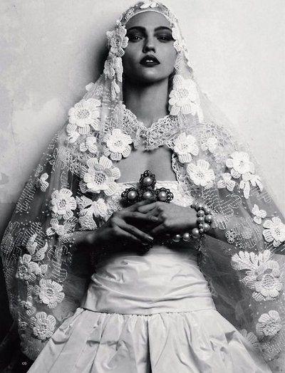 Sasha Pivovarova photographed by Igor Vishnyakov for Harper's Bazaar Russia.