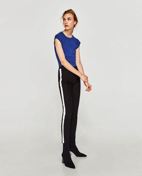 Pantalon Banda Lateral Hosen Damen Zara Damen Hosen Frauen