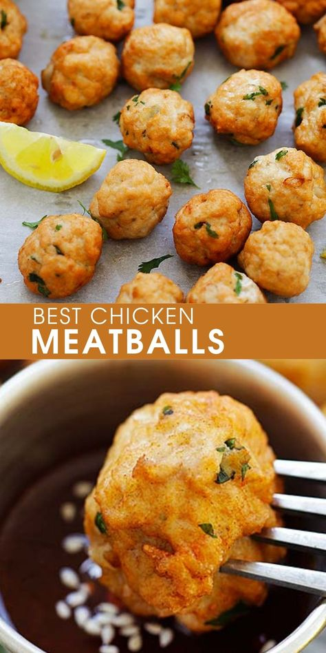 Turkey Recipes, Meat Recipes, Appetizer Recipes, Dinner Recipes, Cooking Recipes, Healthy Recipes, Recipies, Appetizers, Ground Chicken Meatballs