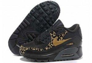 2014 baratas nike air max 90 leopard print negro oro mujer zapatillas