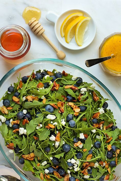 Blueberry Arugula Salad with Honey-Lemon Dressing - a colorful, fresh, delightful salad that's not only good to look at, but delicious and good for you too!