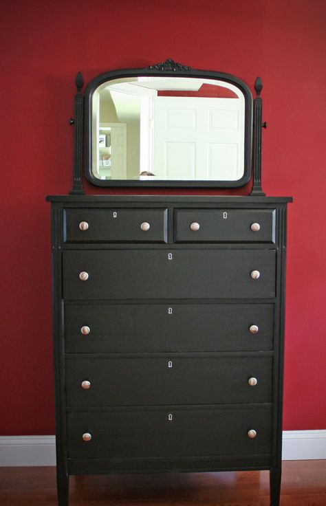 (I just like this black dresser with mirror) How to Paint Wooden Furniture - pinning this because I used all her tips to paint a bookcase and entertainment center. I was so afraid of stains...but was afraid painting my furniture might ruin it too. If you follow these steps you won't ruin your furniture and my favorite part - you will still see the wood grain!