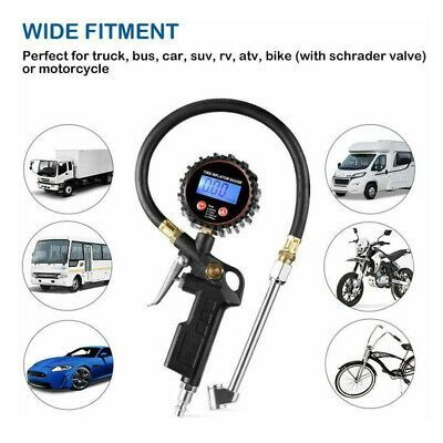 Tire Inflator with Gauge NozzleCar Auto Motorcycle Bike ATV Air Pump Chuck Hose