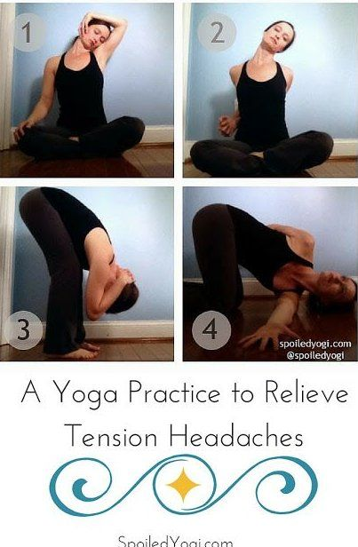 Yoga Poses For Headaches And Neck Tension These Five Yoga Poses Melt Tension In The Neck And Shoulders To Ward Off Tension Headaches Before They Start Yog 2020 Panda