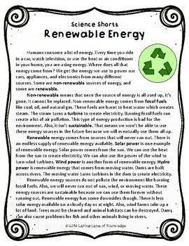 Renewable Energy Reading Comprehension Passage   Science