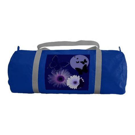 a871c25adc Blue Purple Butterfly and Daisy Gym Duffel Bag