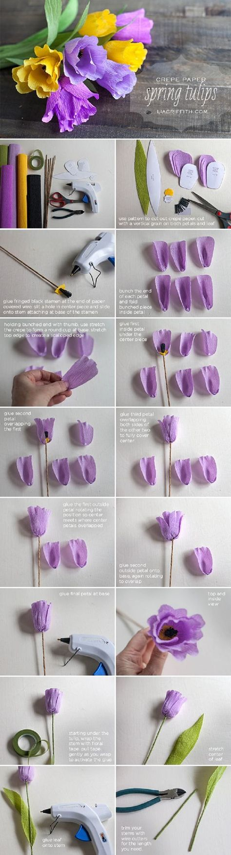 DIY Crepe Paper Tulips - 17 Blossoming DIY Spring Decorating Tutorials | GleamItUp