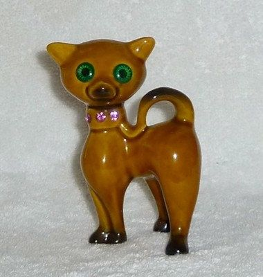 Vintage Mod Retro Pink Rhinestone Kitty Cat Kitten Green Figurine Eames Era
